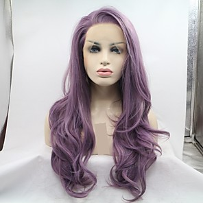 cheap Synthetic Lace Wigs-Synthetic Lace Front Wig Curly Body Wave Layered Haircut Lace Front Wig Long Purple Synthetic Hair 24 inch Women's Women Purple Sylvia