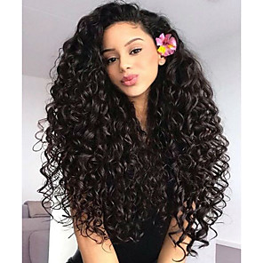 cheap Human Hair Wigs-Remy Human Hair Glueless Lace Front Lace Front Wig style Brazilian Hair Body Wave Wig 130% 150% 180% Density with Baby Hair Natural Hairline African American Wig 100% Hand Tied Women's Short Medium