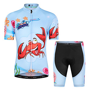 cheap Cycling Jersey & Shorts / Pants Sets-Malciklo Boys' Girls' Short Sleeve Cycling Jersey with Shorts - Kid's Sky Blue Red / Yellow Floral Botanical Bike Clothing Suit UV Resistant Breathable Moisture Wicking Quick Dry Reflective Strips
