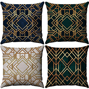 cheap Throw Pillow Covers-Set of 4 Cotton / Linen Pillow Case, Geometic Fashion Printing Geometric Throw Pillow