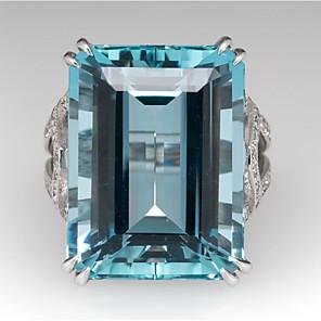 cheap Fine Jewelry-Women's Ring Synthetic Aquamarine 1pc Light Blue Light Blue 2 Copper Geometric Stylish Party Daily Jewelry Classic Joy Cool