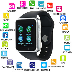 cheap Smartwatches-A1S Women Smartwatch Android Bluetooth Touch Screen Calories Burned Hands-Free Calls FM Radio Camera Pedometer Call Reminder Activity Tracker Sleep Tracker Sedentary Reminder / 0.3 MP / 120-150