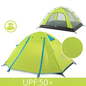 cheap Tents, Canopies & Shelters-Naturehike 2 person Backpacking Tent Outdoor Waterproof Rain Waterproof Well-ventilated Double Layered Pop Up Dome Camping Tent 2000-3000 mm for Fishing Beach Camping Fiberglass 200*130*100 cm