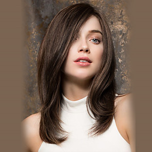 cheap Synthetic Trendy Wigs-Costume Accessories Synthetic Wig kinky Straight Natural Wave Layered Haircut Asymmetrical Side Part Wig Long Brown Synthetic Hair 20 inch Women's Fashionable Design Synthetic Natural Hairline Dark