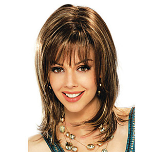 cheap Synthetic Trendy Wigs-Synthetic Wig Bangs Curly Side Part Wig Medium Length Brown / Burgundy Synthetic Hair 16 inch Women's Fashionable Design Women Synthetic Brown