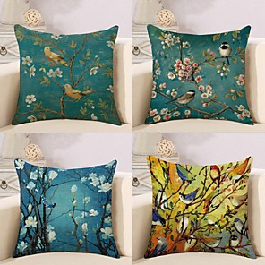 cheap Throw Pillow Covers-Set of 4 Cotton / Linen Pillow Cover, Botanical Special Design Cartoon Pastoral Throw Pillow