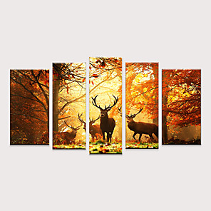 cheap Prints-Print Rolled Canvas Prints - Animals Pop Art Modern Five Panels Art Prints