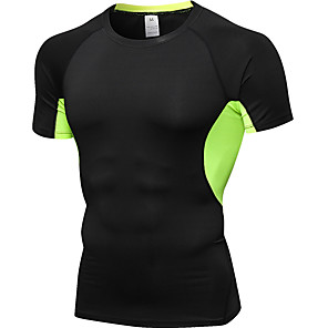 cheap LED String Lights-Men's Patchwork Running T-Shirt Compression Shirt Athletic Short Sleeve Elastane Breathable Quick Dry Sweat-wicking Fitness Gym Workout Sportswear Tee T-shirt Base Layer Base Layer Top Black Black