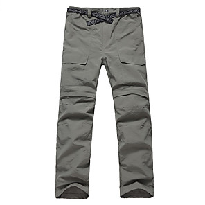 cheap Hiking Trousers & Shorts-Men's Convertible Pants / Zip Off Pants Summer Outdoor Breathable Quick Dry Soft Reduces Chafing Nylon Pants / Trousers Bottoms Army Green Dark Gray Khaki Camping / Hiking Fishing Hiking S M L XL XXL