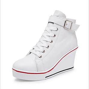 cheap Artificial Plants-Women's Canvas Spring & Summer Sneakers Wedge Heel Red / Blue / Pink