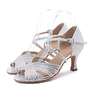 cheap Latin Shoes-Women's Dance Shoes Synthetics Latin Shoes Splicing Heel Flared Heel Customizable Silver / Green / Pink / Performance / Leather
