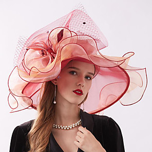 cheap Party Hats-Organza Headwear with Flower / Ruffle 1 Piece Wedding / Sports & Outdoor / Tea Party Headpiece