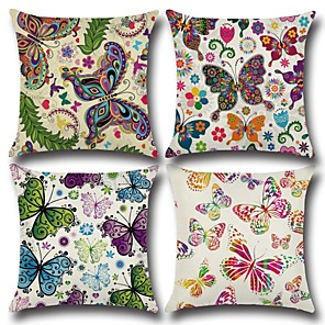 cheap Sale-1 pcs Cotton / Linen Pillow Cover, Butterfly 3D Print Casual Fashion Throw Pillow
