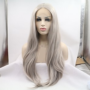 cheap Synthetic Lace Wigs-Synthetic Lace Front Wig Deep Wave Loose Curl Layered Haircut Lace Front Wig Long Grey Synthetic Hair 24 inch Women's Women Dark Gray Sylvia