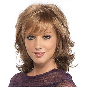 cheap Synthetic Trendy Wigs-Synthetic Wig Bangs Curly Loose Curl Free Part Wig Medium Length Light Brown Synthetic Hair 18 inch Women's Fashionable Design Women Sexy Lady Brown