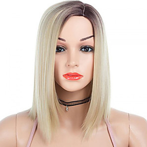 cheap Synthetic Trendy Wigs-Synthetic Wig kinky Straight Side Part Wig Medium Length Brown / White Grey Synthetic Hair 14 inch Women's Fashionable Design Smooth Women Light Brown Gray