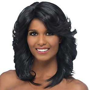 cheap Synthetic Trendy Wigs-Synthetic Wig Bangs Curly Spiral Curl Side Part Wig Medium Length Black / Gold Synthetic Hair 18 inch Women's Classic Women Side Part Black / For Black Women