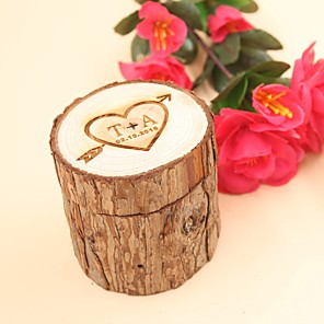 cheap Synthetic Trendy Wigs-Personalized Ring Boxes Wood Necklace Cylinder Engraved