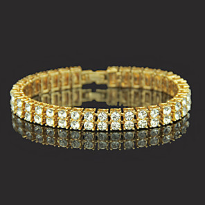 cheap Men's Bracelets-Men's Crystal Bracelet Crystal Bracelet Tennis Chain Precious Simple European Trendy Casual / Sporty Fashion Alloy Bracelet Jewelry Gold / Silver For Party Daily Holiday Work Festival