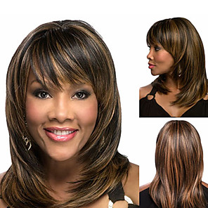 cheap Synthetic Trendy Wigs-Synthetic Wig Bangs kinky Straight Bob Free Part Wig Medium Length Brown / Burgundy Synthetic Hair 14 inch Women's Fashionable Design Smooth Women Brown / Ombre Hair