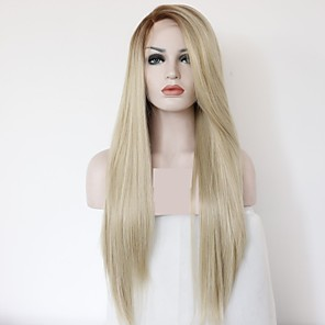 cheap Synthetic Lace Wigs-Synthetic Lace Front Wig kinky Straight Layered Haircut Lace Front Wig Blonde Long Light golden Synthetic Hair 24 inch Women's Women Ombre Hair Red Blonde Sylvia