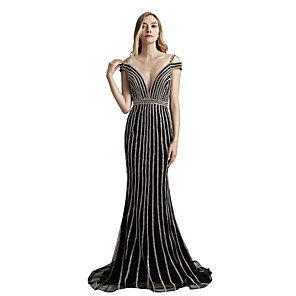 cheap Kitchen Faucets-Mermaid / Trumpet Elegant Beautiful Back Engagement Prom Dress V Neck Short Sleeve Court Train Tulle with Sash / Ribbon Crystals 2020