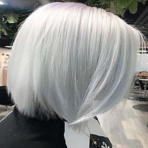 cheap Synthetic Trendy Wigs-Costume Accessories Synthetic Wig Classic Natural Straight Bob Middle Part Wig Short White Synthetic Hair 12 inch Women's Synthetic Lovely Fashion White