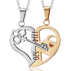 cheap Pendant Necklaces-Men's Women's Necklace Charm Necklace Broken Heart Relationship Stainless Steel Black Gold 50 cm Necklace Jewelry 2pcs For Daily Holiday School Street Festival