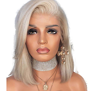 cheap Synthetic Trendy Wigs-Synthetic Lace Front Wig Straight Side Part Lace Front Wig Blonde Short Platinum Blonde Synthetic Hair 12 inch Women's Adjustable Heat Resistant Women Blonde