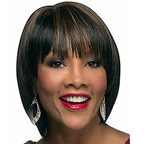 cheap Synthetic Trendy Wigs-Synthetic Wig Bangs Afro Natural Straight Free Part Wig Short Brown / Burgundy Synthetic Hair 12 inch Women's Smooth Women Synthetic Brown / Ombre Hair / For Black Women
