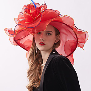 cheap Historical & Vintage Costumes-Organza Headwear with Flower / Ruffle 1 Piece Wedding / Sports & Outdoor / Horse Race Headpiece