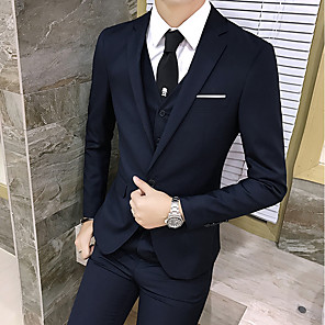 cheap Custom Shirts-Tuxedos Tailored Fit / Standard Fit Notch Single Breasted Two-buttons Wool / Polyester Solid Colored