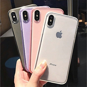 cheap iPhone Cases-Case For Apple iPhone XS / iPhone XR / iPhone XS Max Frosted / Transparent Back Cover Solid Colored Soft TPU