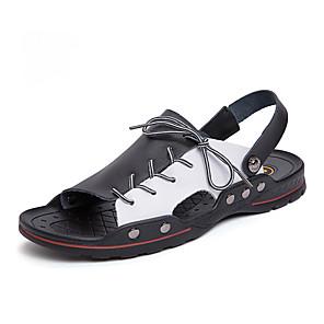 cheap Men's Sandals-Men's Comfort Shoes Microfiber Spring & Summer Vintage Sandals Breathable Black / Black / White / White / Blue