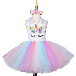 cheap Movie & TV Theme Costumes-Mesh Casual Flower Knee length Princess Kids Christmas New Year Bow Tutu Dress Wear