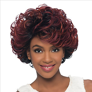 cheap Synthetic Trendy Wigs-Synthetic Wig Bangs Curly Free Part Wig Medium Length Brown / Burgundy Synthetic Hair 14 inch Women's Fashionable Design Women Synthetic Brown