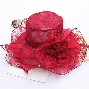 cheap Party Hats-Women's Kentucky Derby Party Lace Sun Hat-Solid Colored Gray Wine Khaki
