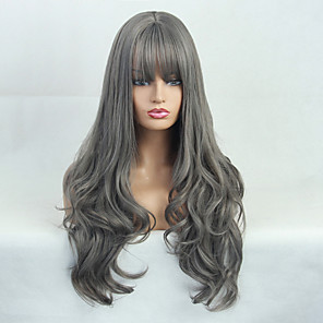 cheap Synthetic Trendy Wigs-Costume Accessories Synthetic Wig Natural Wave Deep Wave Neat Bang Wig Long Grey Synthetic Hair 24 inch Women's Fashionable Design Synthetic Hot Sale Dark Gray BLONDE UNICORN / Natural Hairline