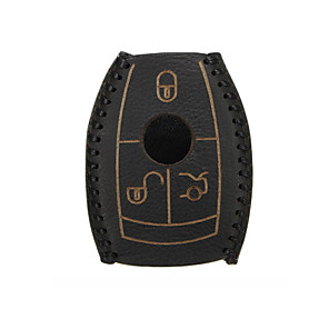cheap Car Body Decoration & Protection-Leather Car Smart Key Case Cover Black For Mercedes-Benz W203 W210 W211 AMG W204