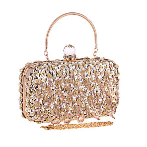 cheap Clutches & Evening Bags-Women's Chain Polyester Evening Bag Solid Color Champagne / Silver