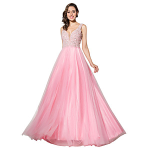 cheap Evening Dresses-A-Line Elegant & Luxurious Open Back Formal Evening Dress Plunging Neck Sleeveless Sweep / Brush Train Tulle with Pearls Crystals 2020