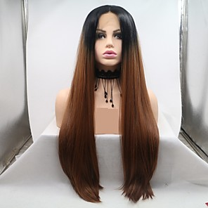 cheap Synthetic Lace Wigs-Synthetic Lace Front Wig Straight kinky Straight Layered Haircut Lace Front Wig Long Medium Auburn Synthetic Hair 24 inch Women's Women Ombre Hair Black Brown Sylvia