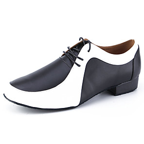 cheap Swing Shoes-Men's Dance Shoes Cowhide Latin Shoes Heel Thick Heel Customizable Black / White / Performance / Leather / Practice