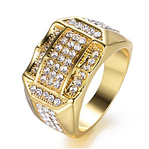 cheap Pendant Necklaces-Men's Ring Cubic Zirconia 1pc Gold White Copper Geometric Stylish Party Daily Jewelry Classic Joy Cool