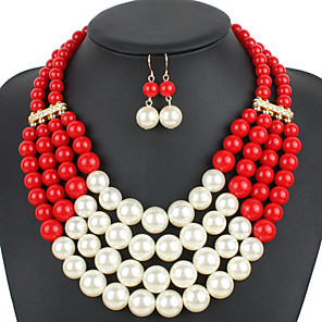 cheap Jewelry Sets-Women's Necklace Earrings Pearl Necklace Geometrical U Shape Simple Sweet Fashion Cute Elegant Imitation Pearl Earrings Jewelry Rose Red / Red / Blue For Wedding Party Daily Club Festival 1 set