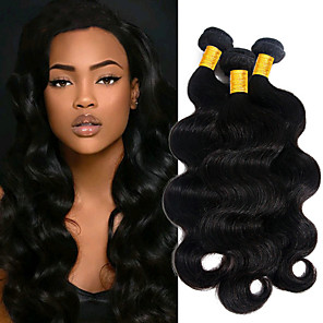 cheap Human Hair Weaves-3 Bundles Peruvian Hair Body Wave Unprocessed Human Hair 100% Remy Hair Weave Bundles 150 g Natural Color Hair Weaves / Hair Bulk Bundle Hair Human Hair Extensions 8-28 inch Natural Color Human Hair