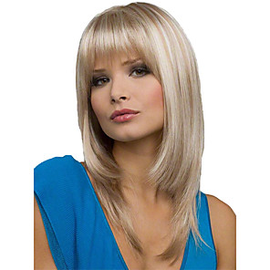 cheap Synthetic Trendy Wigs-Synthetic Wig kinky Straight Free Part Wig Medium Length Brown / White Synthetic Hair 16 inch Women's Fashionable Design Smooth Women Light Brown