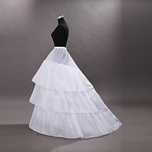 cheap Historical & Vintage Costumes-Bride Classic Lolita 1950s Dress Petticoat Hoop Skirt Crinoline Women's Girls' Tulle Costume White Vintage Cosplay Wedding Party Princess