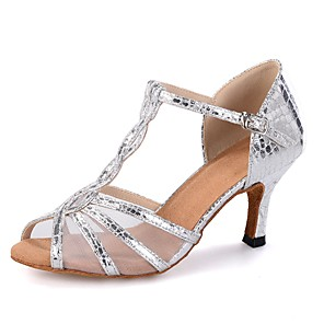 cheap Latin Shoes-Women's Dance Shoes Latin Shoes Heel Splicing Flared Heel Customizable Black / Gold / Silver / Performance / Leather