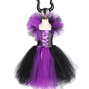 cheap Synthetic Lace Wigs-Maleficent Evil Queen Girls Tutu Dress with Horns Halloween Cosplay Witch Costume